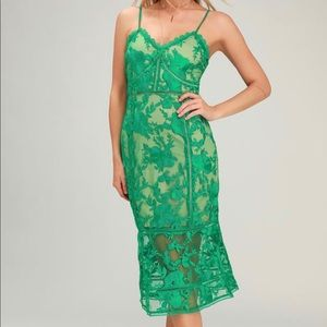 Lulu's Small Green Floral Lace Midi Dress New! NYE